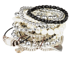 Stack of Jewelery, diamond, pearl braceletes